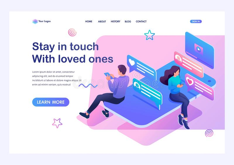 Isometric concept smartphone and social networks for teenagers a way to stay in touch with loved ones. Training of a young man. Template landing page for royalty free illustration