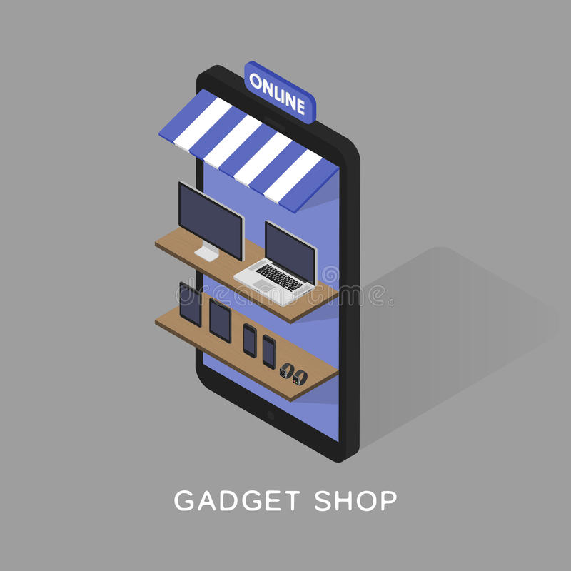 Isometric concept store online shopping of gadgets and electronics. Mobile phone store front. Sartwatches, tablets vector illustration