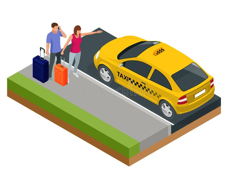 Isometric concept of taxi car, traveling people with baggage, a mobile taxi call application. Active recreation and. Travel royalty free illustration