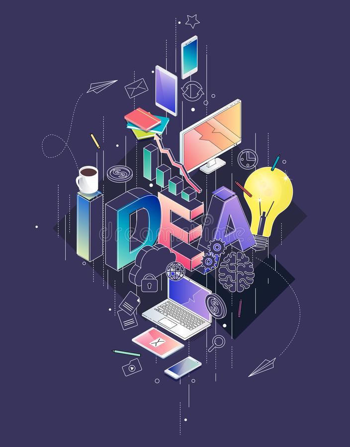 Isometric concept with thin line letters, typography word idea. With line and colorful icons. For internet banner, websites, flyers. Vector illustration royalty free illustration