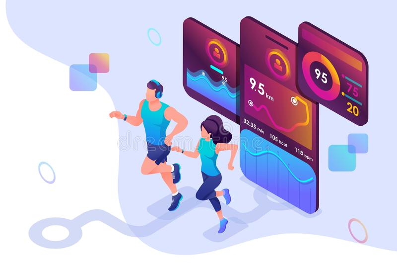 Isometric concept train together, reach your goal using the mobile app to track your activity. Concept for web design vector illustration