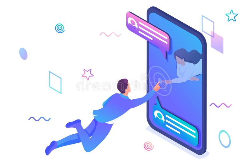 Isometric concept Unlimited possibilities of social networks, a young girl communicates with a young man via the stock illustration