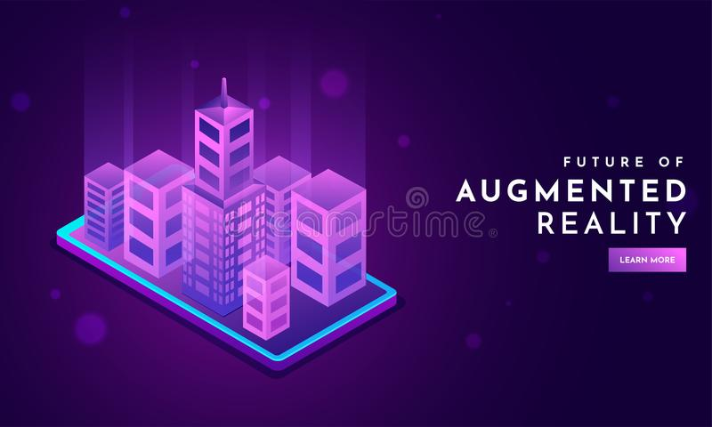 Isometric concept, urban building illustration on smartphone screen for Futuristic Augmented Reality responsive landing page. Design royalty free illustration