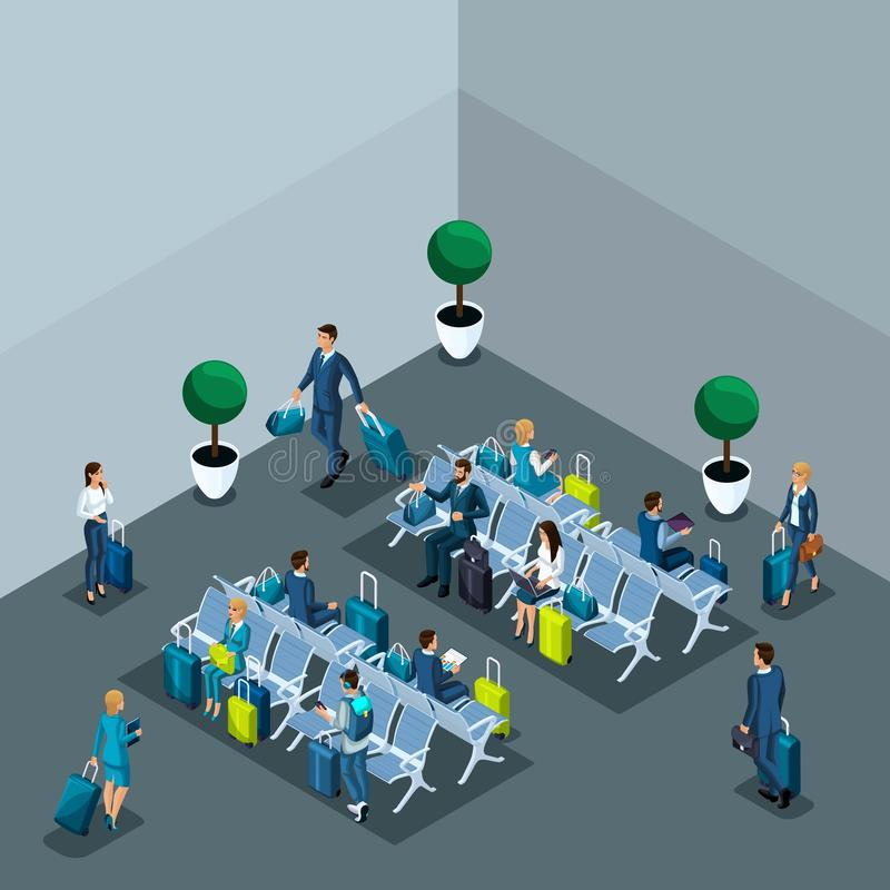 Isometric concept of the waiting room international airport, transit zone, business ladies and businessmen on a business trip stock illustration