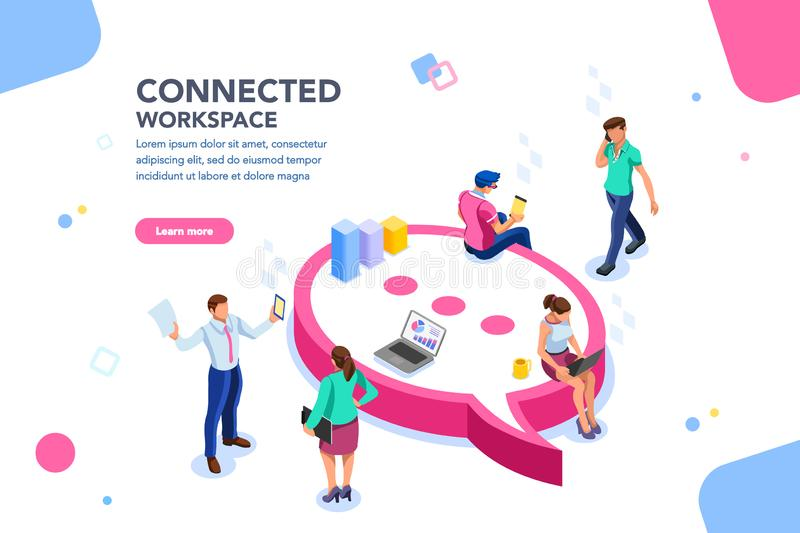 Wifi Connected People Concept Isometric Vector. Isometric concept, wifi connected people, bar presentation. Occupation plan, workplace for team cooperation vector illustration