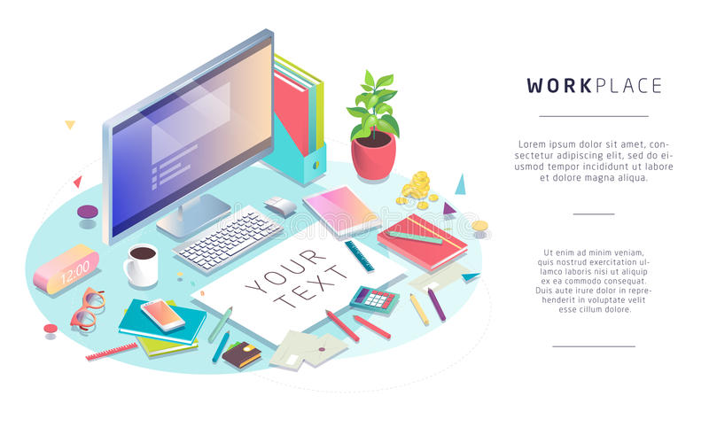 Isometric concept of workplace with computer and office equipment. Mockup with blank sheet. Vector illustration royalty free illustration
