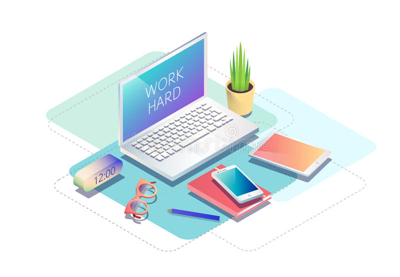 Isometric concept of workplace with computer and office equipment. Vector illustration royalty free illustration