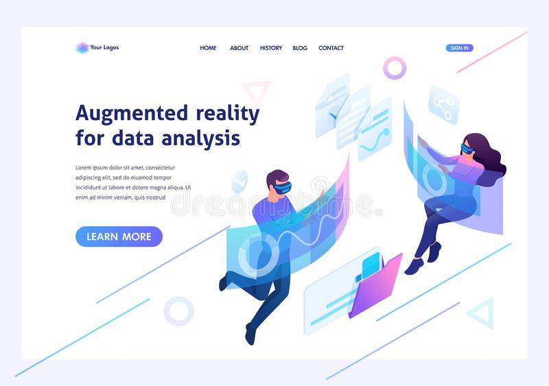 Isometric concept Young people use augmented reality and virtual glasses for data analysis.Template landing page for website royalty free illustration
