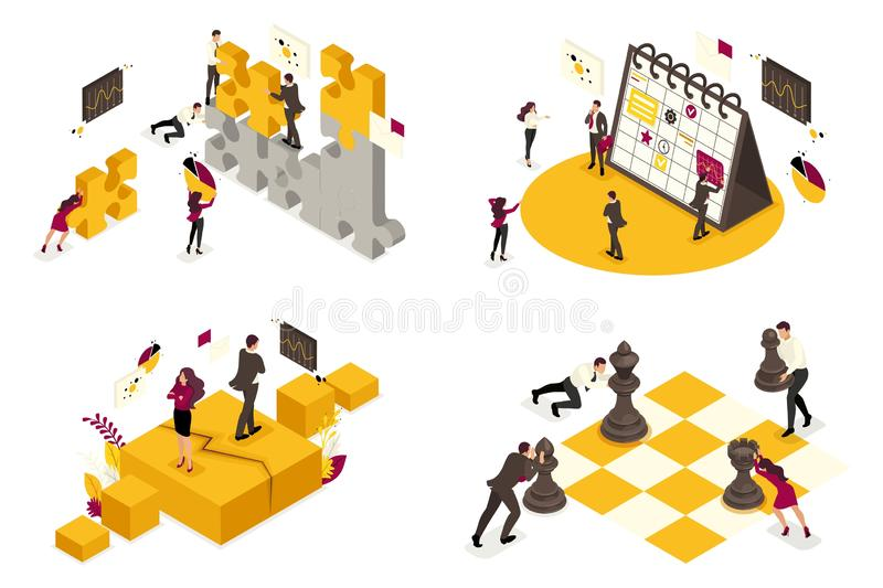 Isometric concepts of business processes, disagreements, Analytics, planning, partnership. For website and mobile application vector illustration