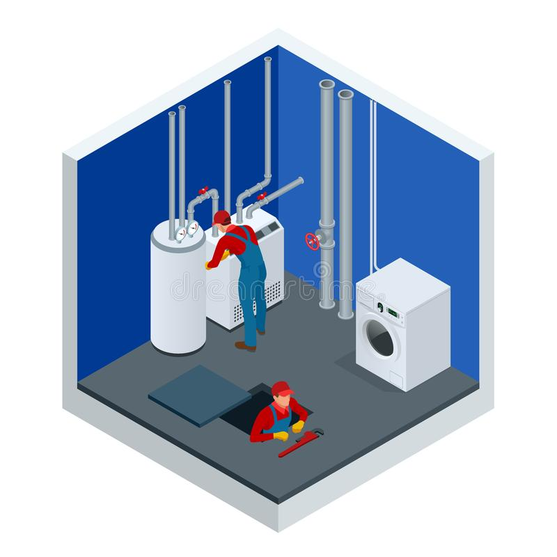 Isometric condensing boiler gas in the boiler room. Worker set up central gas heating boiler at home. Construction. Maintenance and repair concept. Vector stock illustration