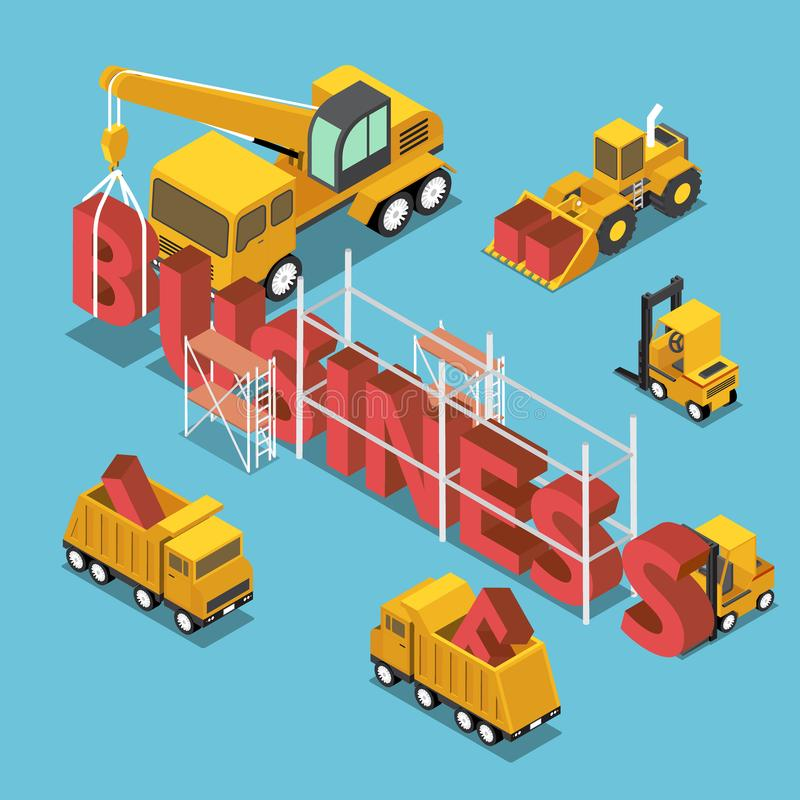 Isometric construction site vehicles buildding business word. stock illustration