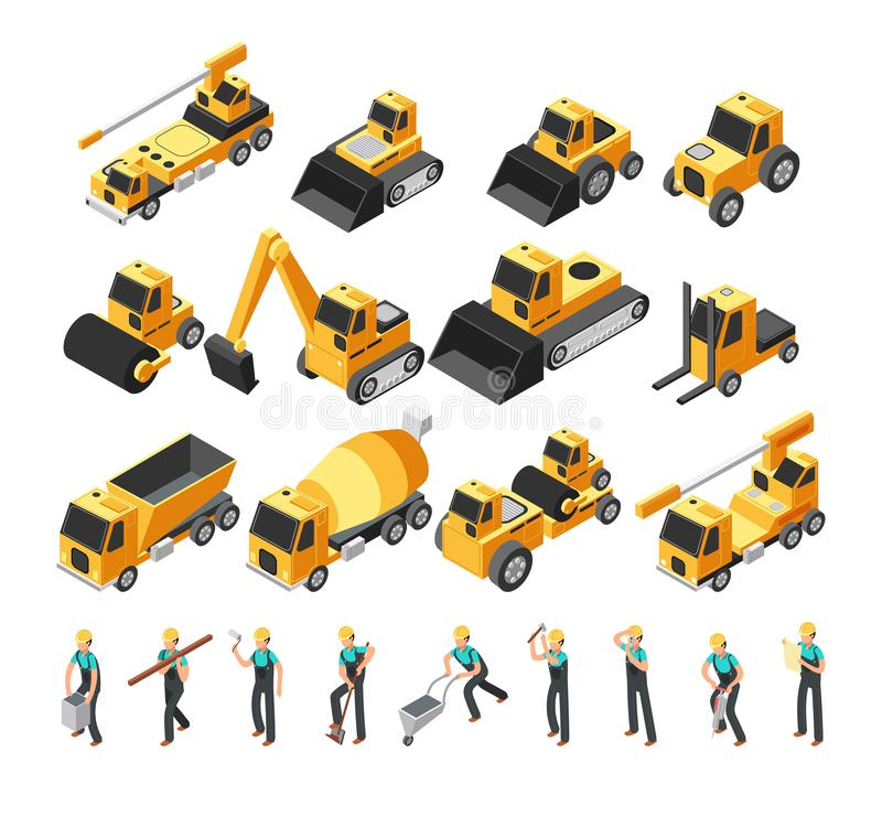 Isometric construction workers, building machinery and equipment 3d vector set royalty free illustration