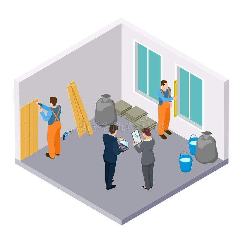 Isometric construction workers, room repair isometric vector illustration stock illustration