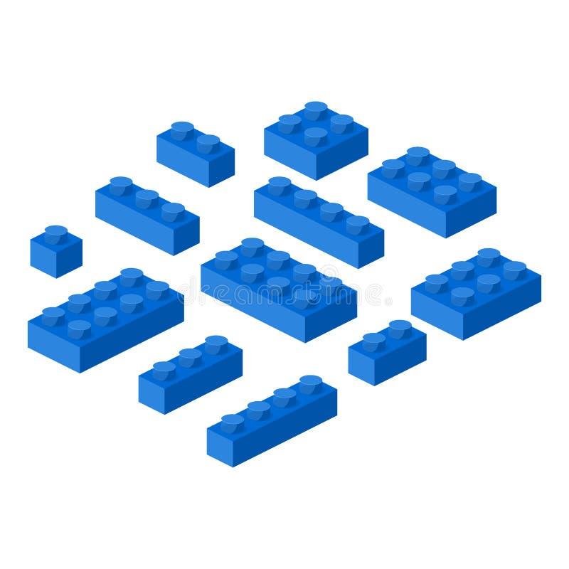 Isometric constructor blocks 3d preschool build cubic vector illustration. royalty free illustration