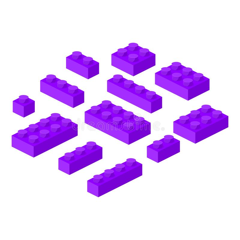 Isometric constructor blocks 3d preschool build cubic vector illustration. vector illustration