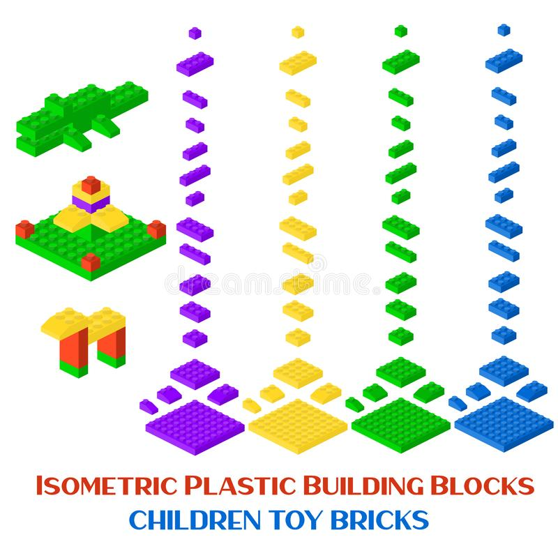 Isometric constructor blocks 3d preschool build cubic vector illustration. stock illustration