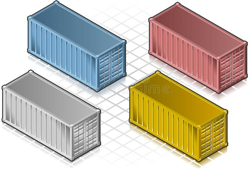 Isometric container in various colors vector illustration