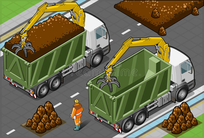 Download Isometric Containers Trucks With Arm Stock Vector - Image: 30296419