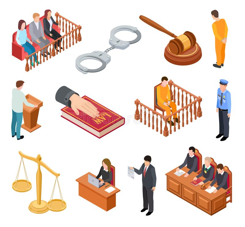 Isometric court of law. Trials defendant witness interrogation jury judge justice accused lawyer criminal legal prisoner stock illustration
