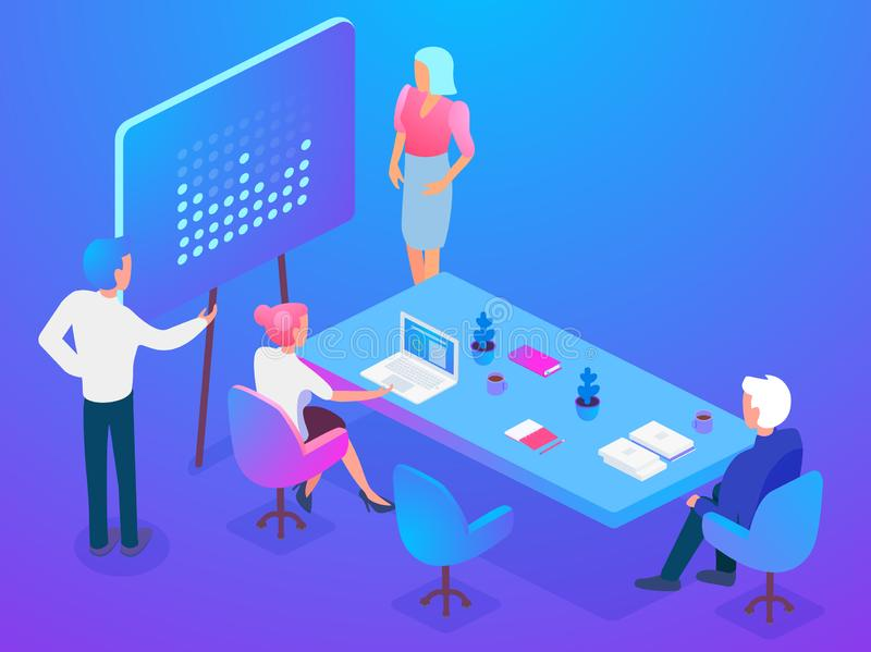 Isometric coworkers attending business presentation while working on project in office together. Isometric coworkers attending business presentation while vector illustration