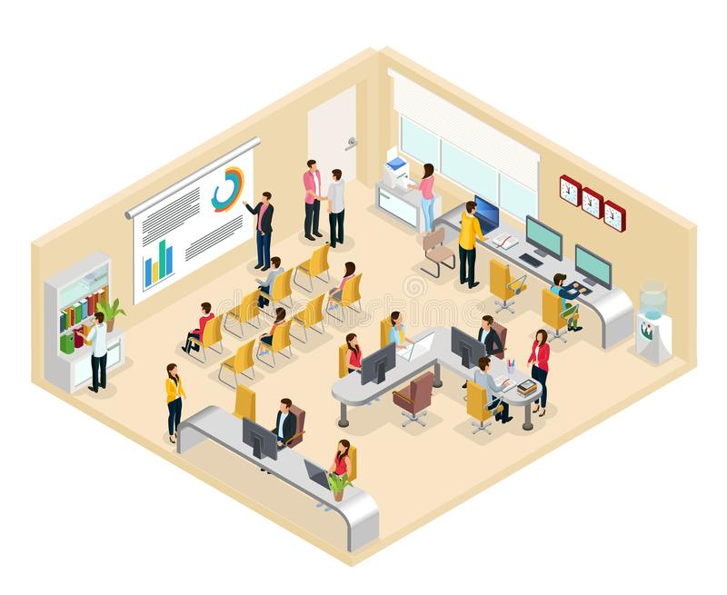 Isometric Coworking Office Concept stock illustration
