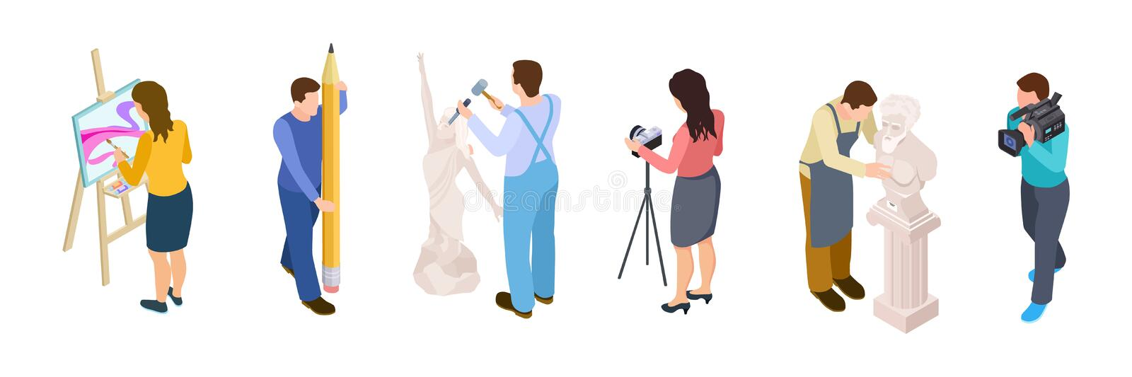 Isometric creative people vector. Artists, designer, videographer, sculptor isolated on white background. Sculptor work, people drawing, art hobby illustration stock illustration