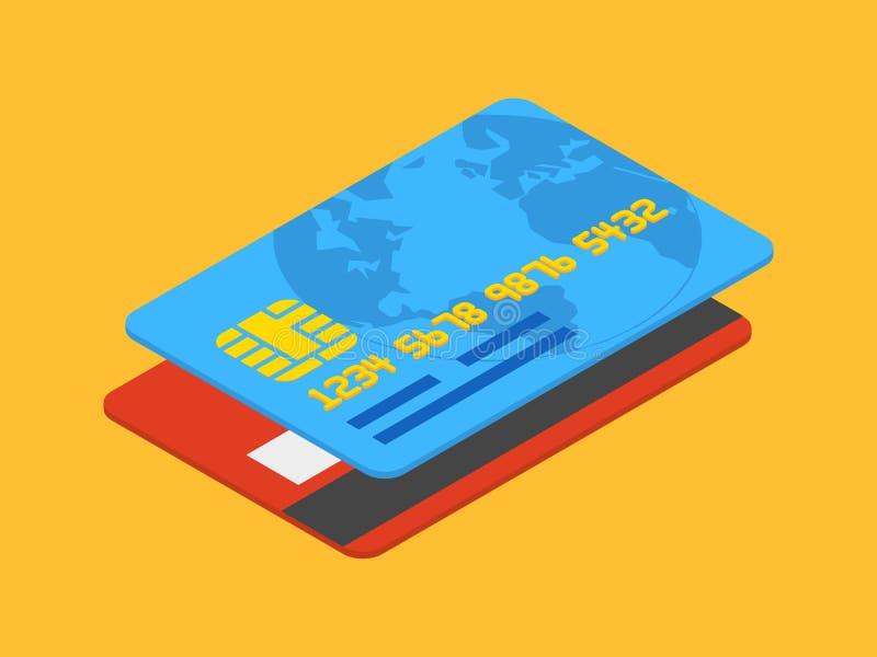 Isometric credit card. Against the orange background royalty free illustration