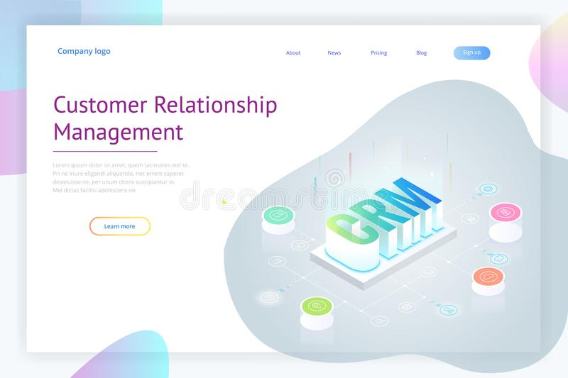 Isometric CRM web banner. Customer relationship management concept. Business Internet Technology vector illustration stock illustration