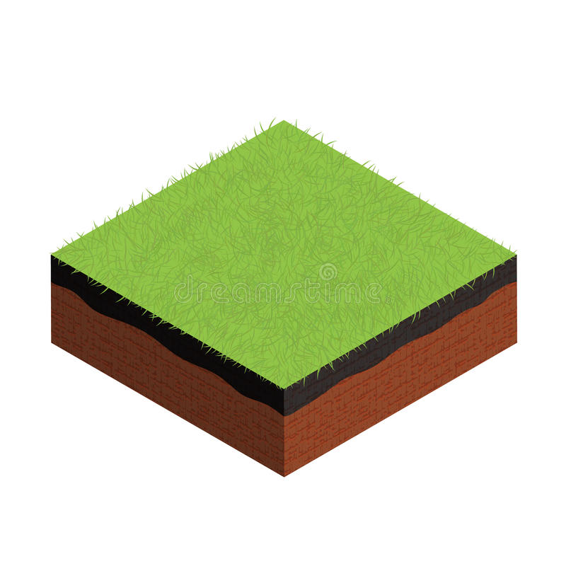 Isometric cross section of ground with grass. Vector illustration royalty free illustration