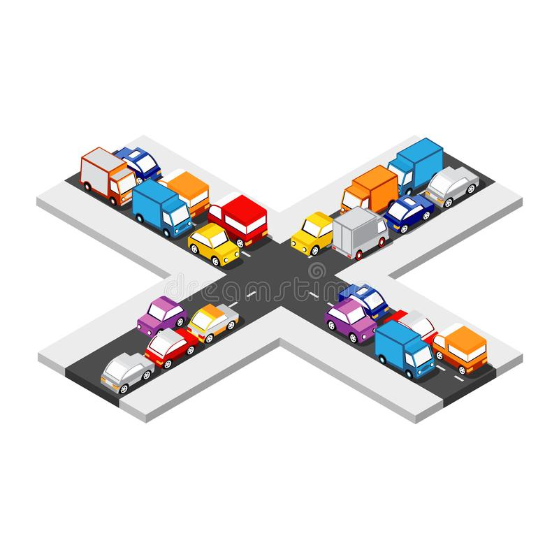 Isometric Crossroads intersection. Of streets of highways with traffic cars standing in jam. Conceptual Vector City Illustration vector illustration