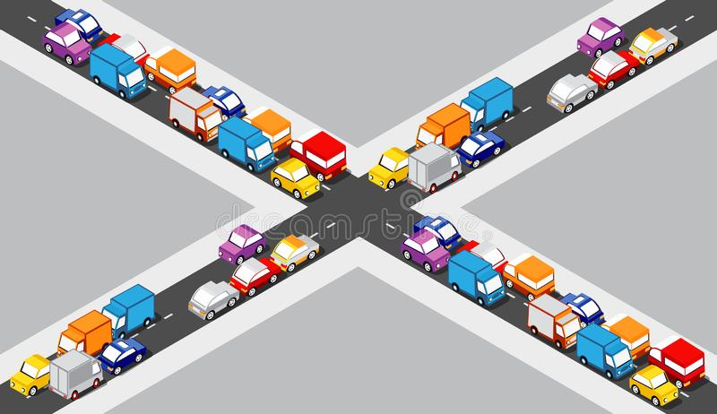 Isometric Crossroads intersection. Of streets of highways with traffic cars standing in jam. Seamless repeating background illustration stock illustration