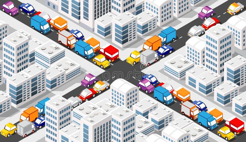 Isometric Crossroads intersection. Of streets of highways with traffic cars standing in jam. Seamless repeating background illustration royalty free illustration