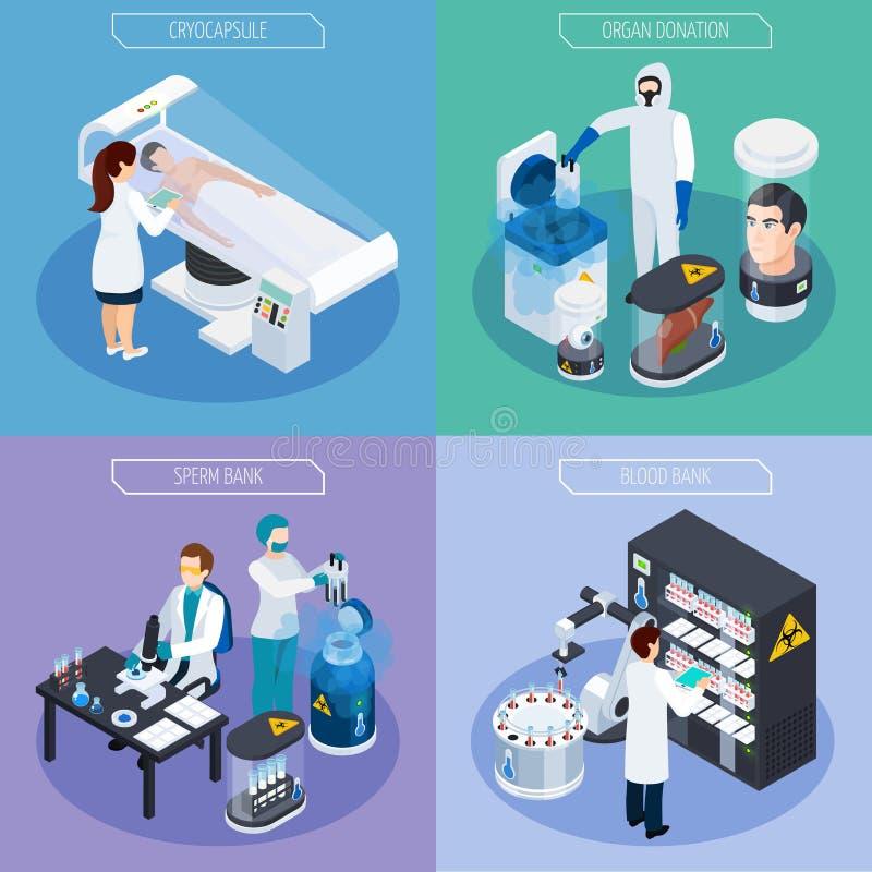 Isometric Cryogenetics projekta pojęcie ilustracja wektor