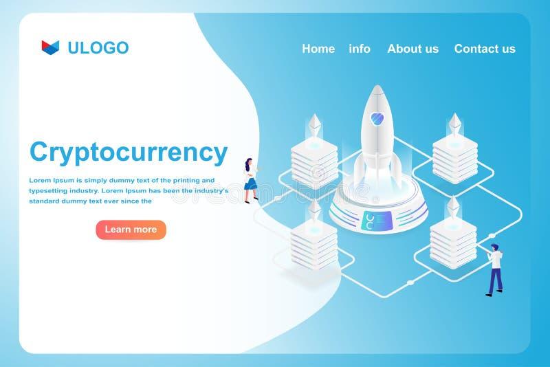 Isometric crypto waluty pieniężny i biznesowy pojęcie Nowożytna futurystyczna pieniądze cyfrowej wymiany technologia Wektor w 3d  royalty ilustracja