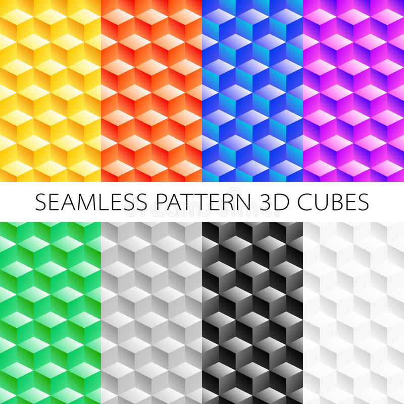 Isometric cubes set. Vector elements games. Seamless pattern. stock illustration