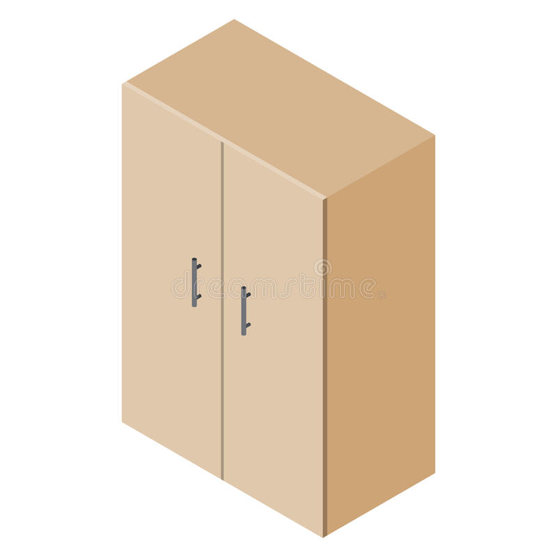 Isometric cupboard wardrobe. Isolated on white background royalty free illustration