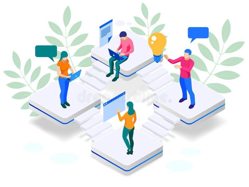 Isometric Cyfrowej strategii marketingowej sieci sztandaru pojęcie Analiza dane obłoczna i Inwestorska lądowanie strona środki ilustracji