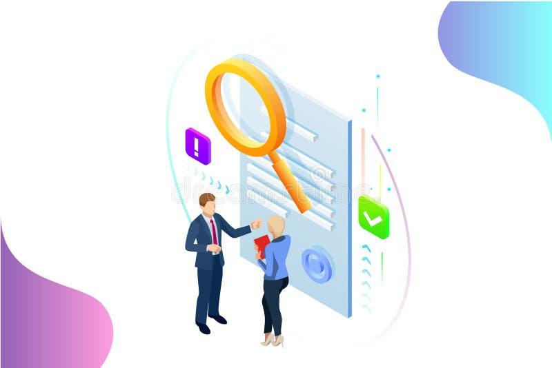 Isometric cyfrowy strategii marketingowej pojęcie Online biznes, interneta marketingowy pomysł, biuro i finansów przedmioty, royalty ilustracja