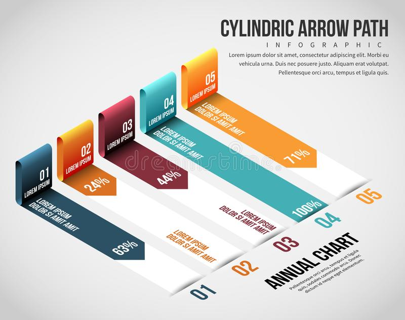 Isometric Cylindric Arrow Path Infographic. Vector illustration of Isometric Cylindric Arrow Path Infographic design element royalty free illustration