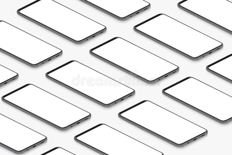 Isometric czarni realistyczni smartphones z pustą białą ekran siatką Pusty parawanowego telefonu szablon dla wkładać UI royalty ilustracja