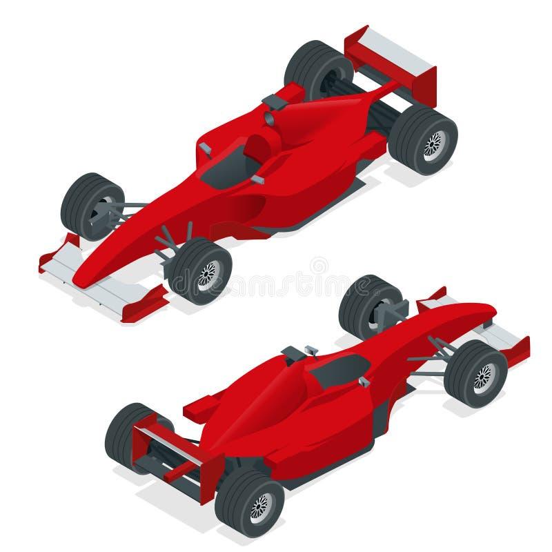 Isometric czerwony formuły 1 samochód lub sportowy samochód Mieszkania 3d isometric ilustracja Dla infographics i projekta royalty ilustracja