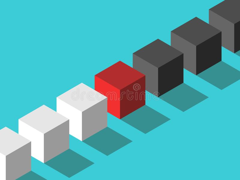 Isometric czerwony mediatora sześcian ilustracja wektor