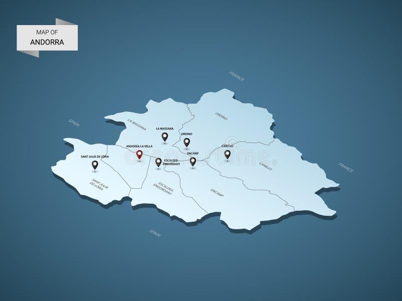 Isometric 3D Andorra mapy wektorowy pojęcie ilustracji