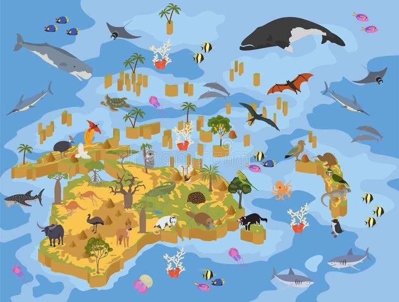 Isometric 3d Australia and Oceania flora and fauna map elements. Animals, birds and sea life. Build your own geography infographics collection. Vector stock illustration
