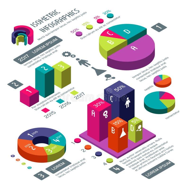 Isometric 3d biznesowy wektorowy infographic z kolor mapami i diagramami ilustracji