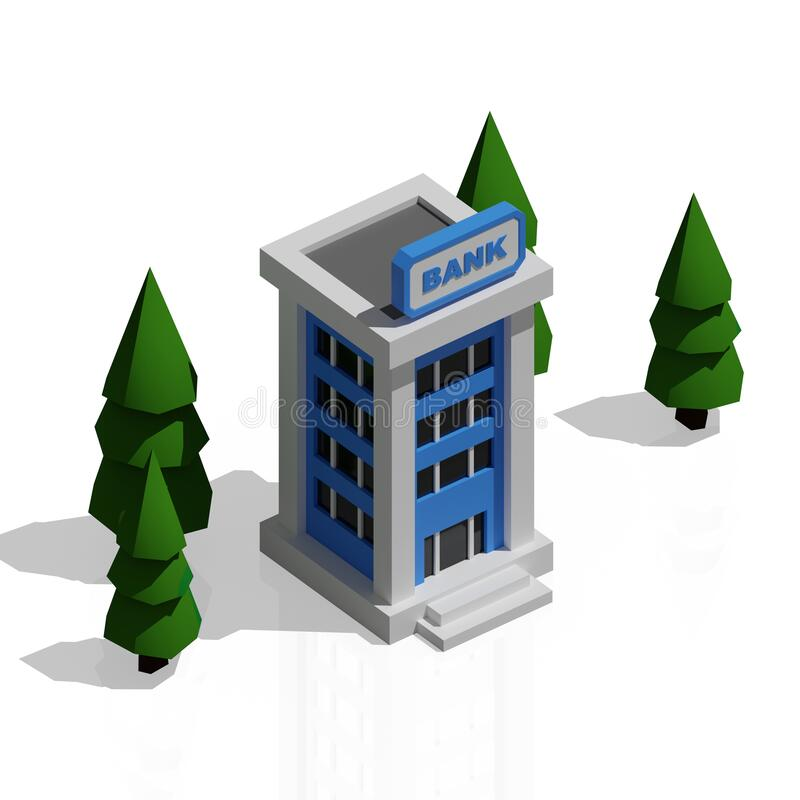 Isometric 3d building with trees around,. Isolated on white background, easy remove, high quality, 4k image stock photography