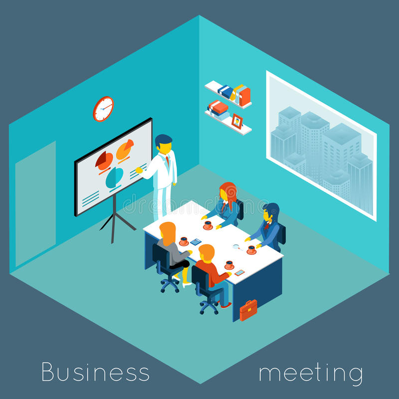 Isometric 3d business meeting royalty free illustration