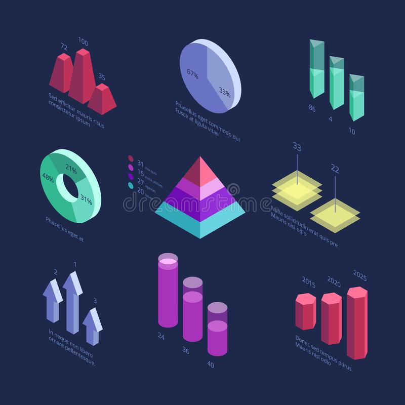 Isometric 3d business statistics data charts, percentage diagram, financial growth graphics. Vector info screen panel stock illustration