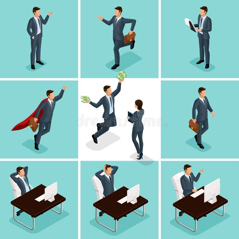 Isometric 3d businessmen, a set of concepts with a businessman and a business lady, a man enjoying money royalty free illustration