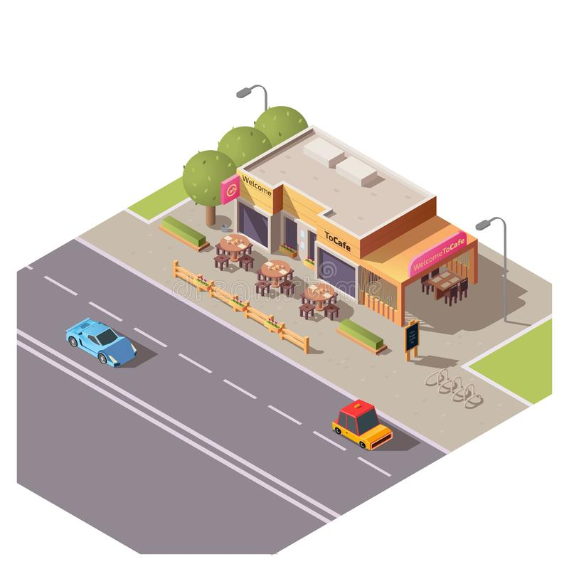 Isometric 3d cafe building with outdoor terrace. And round tables at roadside with moving cars. Restaurant, city architecture, cafeteria exterior design with royalty free illustration